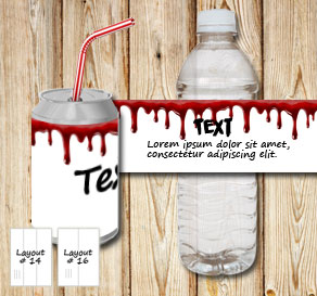 Bottle labels in white bloody paper  | Free printable for Halloween