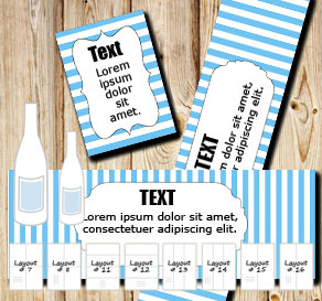 Light blue and white striped bottle labels  | Free printable bottle wrapper