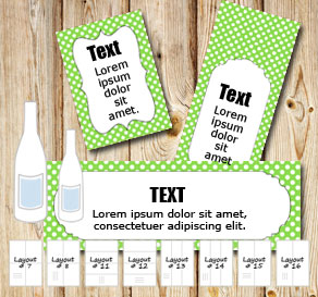 Green bottle labels with white dots  | Free printable bottle wrapper