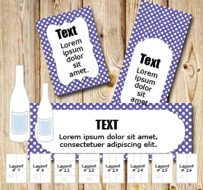 Purple bottle labels with white dots 	  | Free printable bottle wrapper