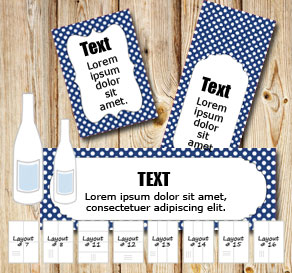 Dark blue bottle labels with white dots   | Free printable bottle wrapper