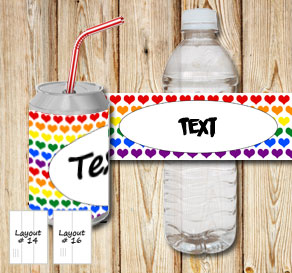 Bottle labels with colorful hearts  | Free printable for Valentines day
