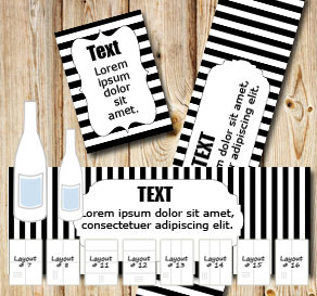 Black and white striped bottle labels  | Free printable bottle wrapper