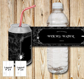 Marbeled bottle labels with vampire juice and witch...  | Free printable for Halloween