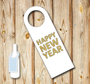 White neck tags: Happy New Year  | Free printable neck tag