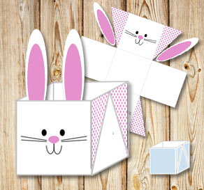 Free printable gift boxes white easter basket box with cute easter bunny and negle Gallery