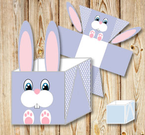 Purple easter basket (box) in with easter bunny  | Free printable for Easter