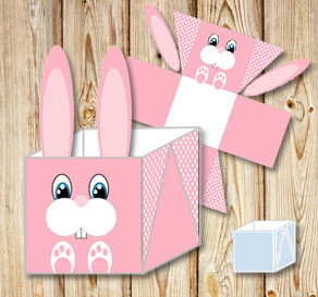 Pink easter basket (box) in with easter bunny  | Free printable for Easter