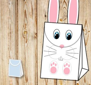 Gift bag: White easter bunny with blue eyes  | Free printable for Easter