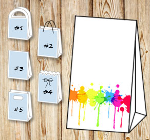 Gift bag with colorful splashes of paint  | Free printable gift bag