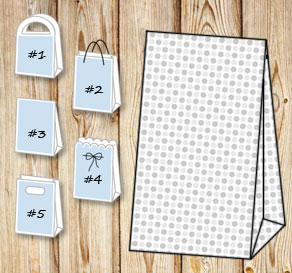 Gift bag with grey dots  | Free printable gift bag