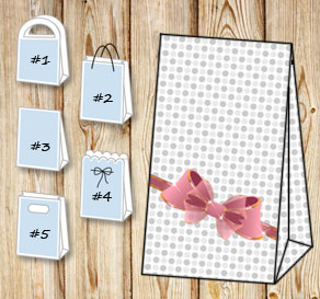 Gift bag with grey dots and a pink bow  | Free printable gift bag