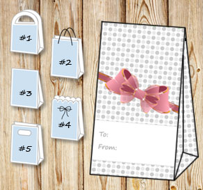 Gift bag with grey dots and a pink bow (to/from)  | Free printable gift bag