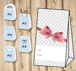 Gift bag with grey dots and a pink bow (till/från)  | Free printable gift bag