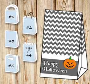 Grey gift bag for Halloween  | Free printable for Halloween