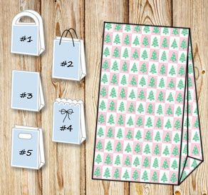 Pink and white squared gift bags with christmas trees  | Free printable for Christmas