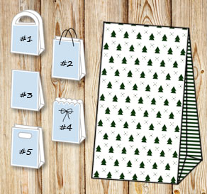 Gift bags with christmas trees  | Free printable for Christmas