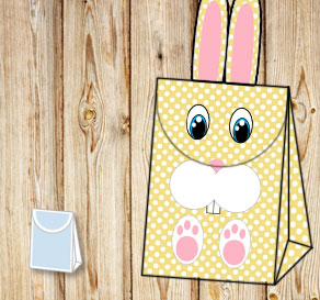 Yellow giftbag with white dots and the easter bunny  | Free printable for Easter