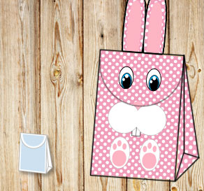 Pink giftbag with white dots and the easter bunny  | Free printable for Easter