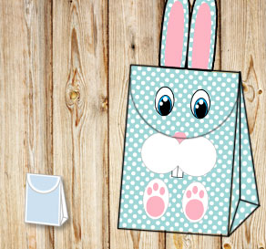 Turquoise giftbag with white dots and the easter bunny  | Free printable for Easter