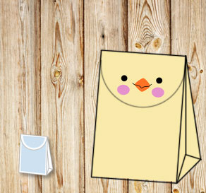 Gift bag: Yellow easter chick  | Free printable for Easter
