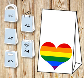 Gift bag with pride hearts  | Free printable gift bag