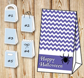 Purple gift bag for Halloween  | Free printable for Halloween