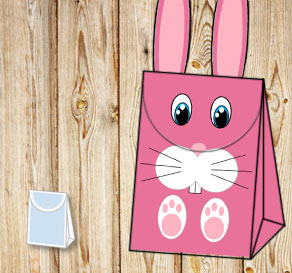 Gift bag: Pink easter bunny with blue eyes  | Free printable for Easter