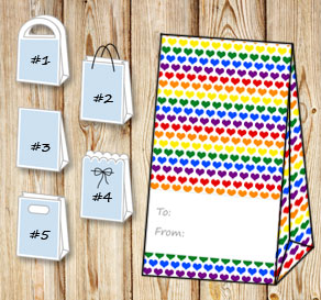 Gift bag with colorful hearts (to/from)  | Free printable for Valentines day