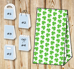 Gift bag with green shamrock  | Free printable for St Patricks day