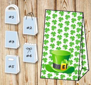 Gift bag with green shamrock and a St Patricks day hat  | Free printable for St Patricks day