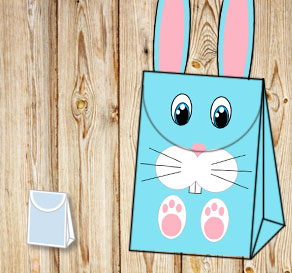 Gift bag: Turquoise easter bunny with blue eyes  | Free printable for Easter