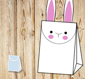 Gift bag: White easter bunny  | Free printable for Easter