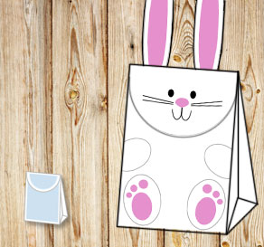 Gift bag: White easter bunny with feet 2  | Free printable for Easter