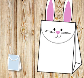 Gift bag: White easter bunny 2  | Free printable for Easter