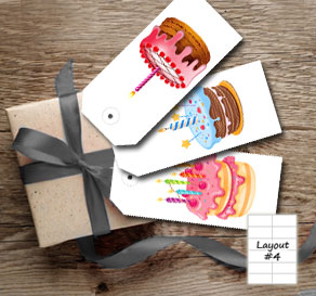 Gift tags with birthday cakes  | Free printable gift tag
