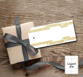 White gift tags with a Gatsby theme
