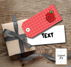 Red gift tags with white dots and red roses  | Free printable for Valentines day