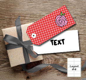 Red gift tags with white dots and pink roses  | Free printable for Valentines day