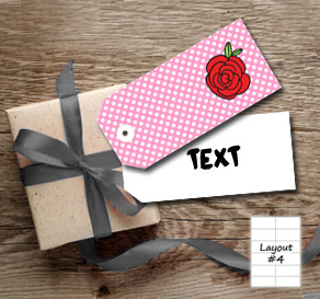 Pink gift tags with white dots and red roses  | Free printable for Valentines day