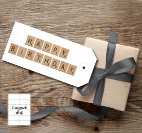White gift tags with scrabble HAPPY BIRTHDAY  | Free printable gift tag