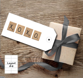 White gift tags with scrabble XOXO  | Free printable gift tag