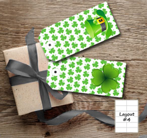 White gift tags with green shamrock and St Patricks...  | Free printable for St Patricks day