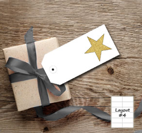White gift tags with golden stars  | Free printable gift tag