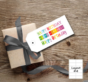 Gift tag with colorful  Happy Birthday  | Free printable gift tag