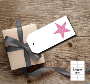 White gift tags with pink glitter stars  | Free printable gift tag