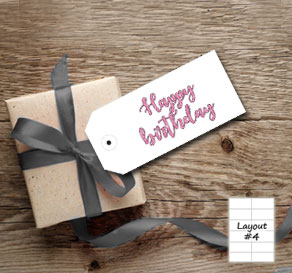 Gift tag with pink glitter Happy birthday 2  | Free printable gift tag