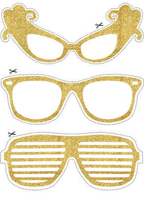 Photo booth props: Golden glasses  | Free printable decorations