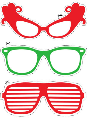 Photo booth props: Red and green glasses  | Free printable decorations