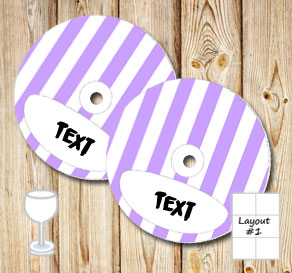 Light purple and white striped glass markers  | Free printable glass markers